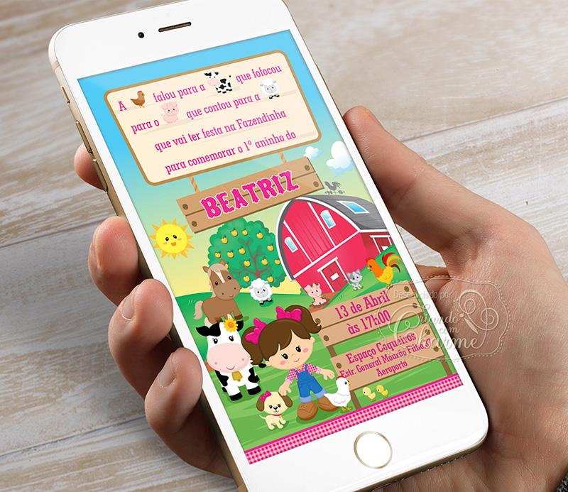 Convite Digital - Fazendinha - Menina