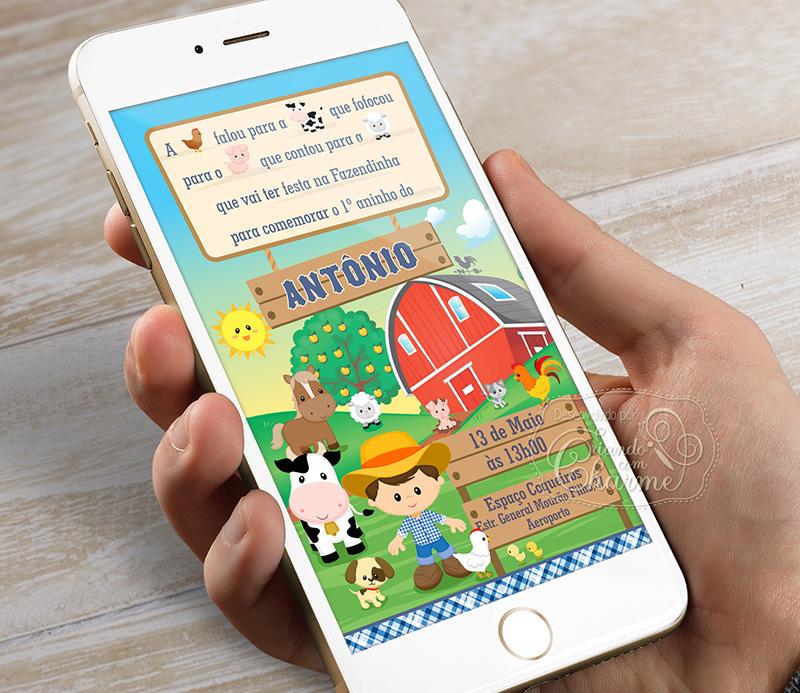 Convite Digital - Fazendinha - Menino