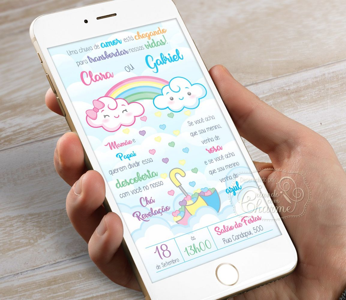 Convite Digital para Chá Revelação - Chuva de Amor