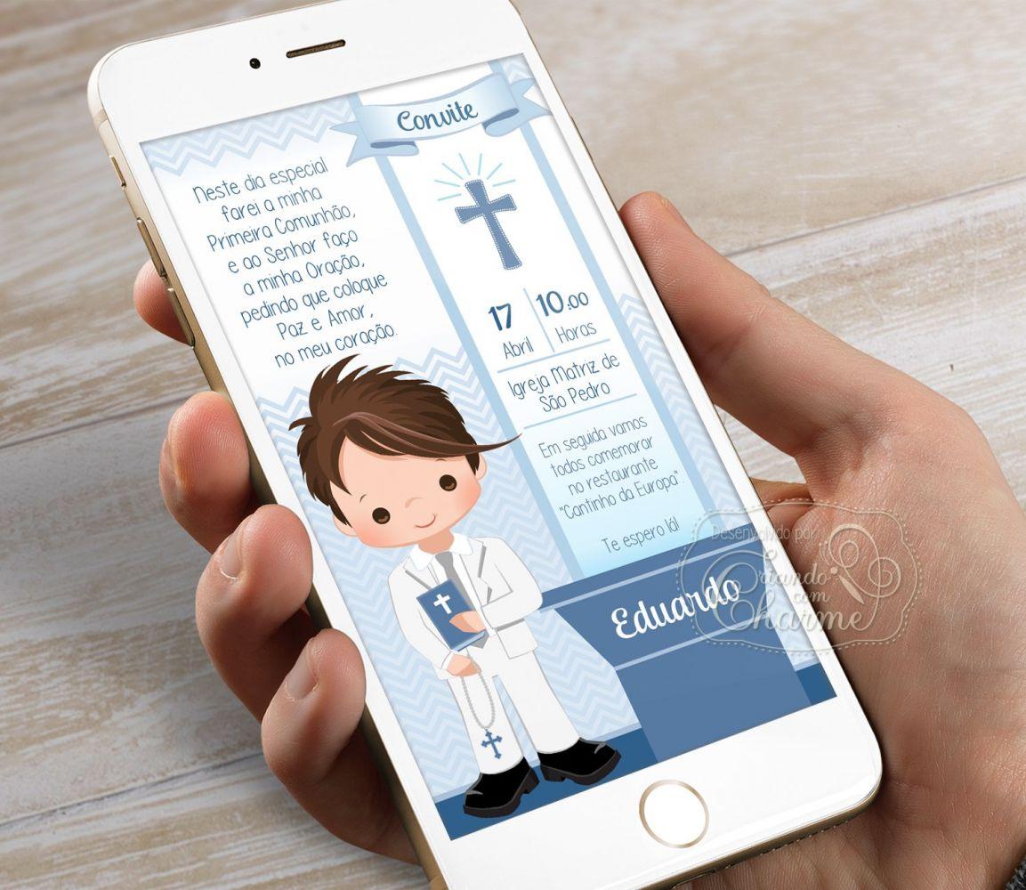 Convite Digital para Eucaristia - Tema Eucharist Azul