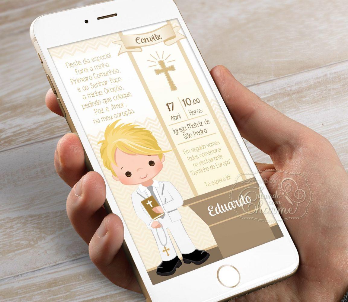 Convite Digital para Eucaristia - Tema Eucharist Brown