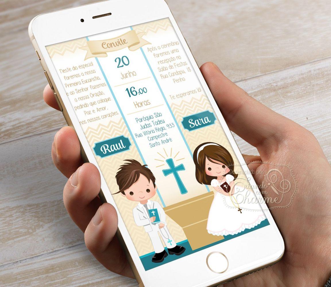 Convite Digital para Eucaristia - Tema Eucharist Irmãos