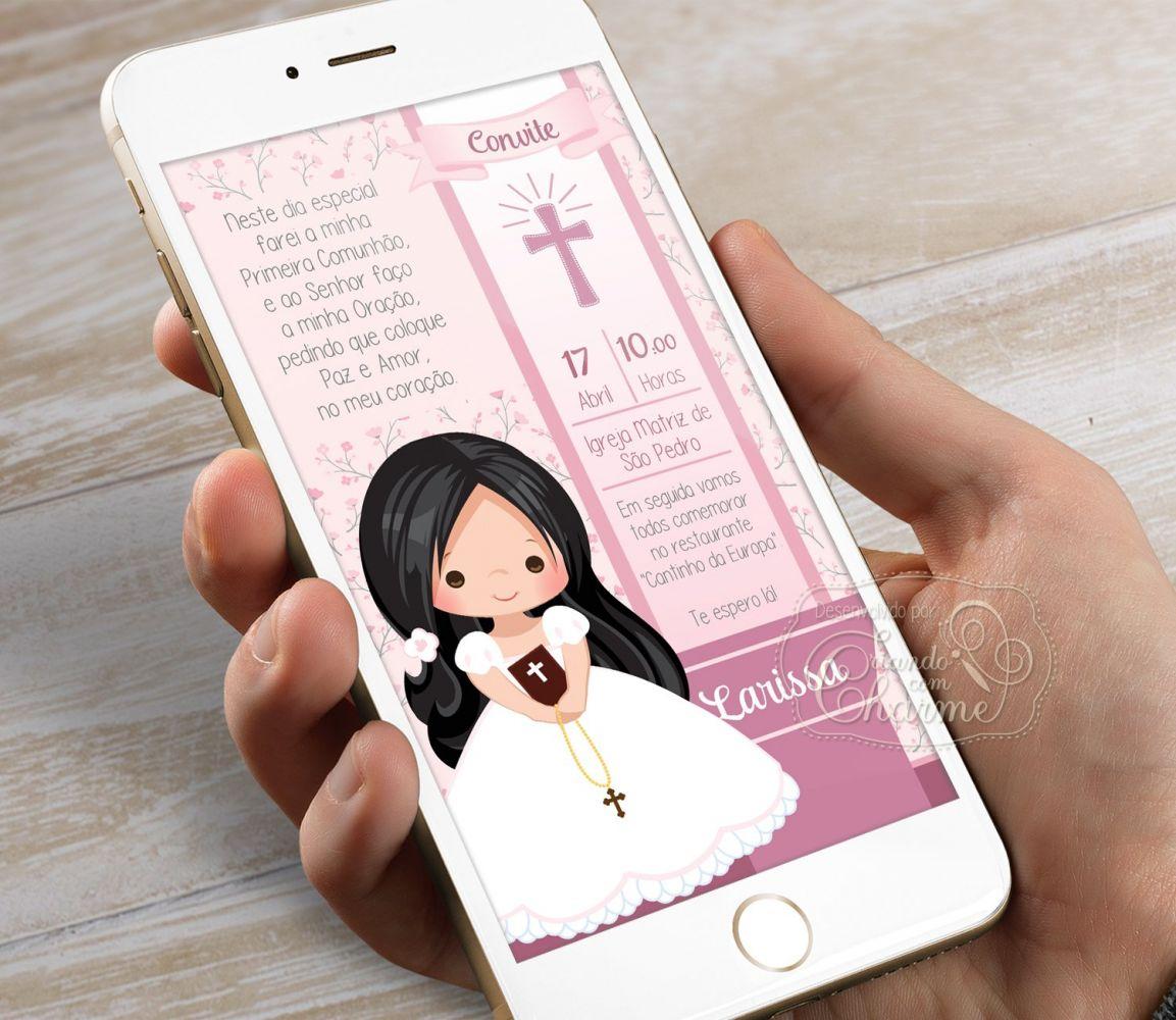 Convite Digital para Eucaristia - Tema Eucharist Rosa