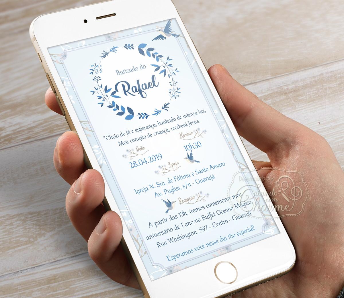 Convite Digital para Whatsapp - Pássaros Azul