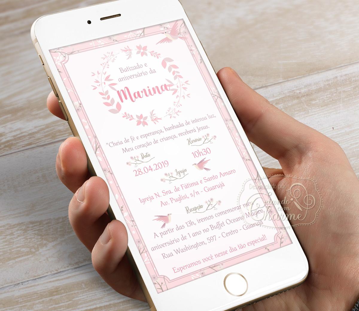 Convite Digital para Whatsapp - Pássaros Rosa