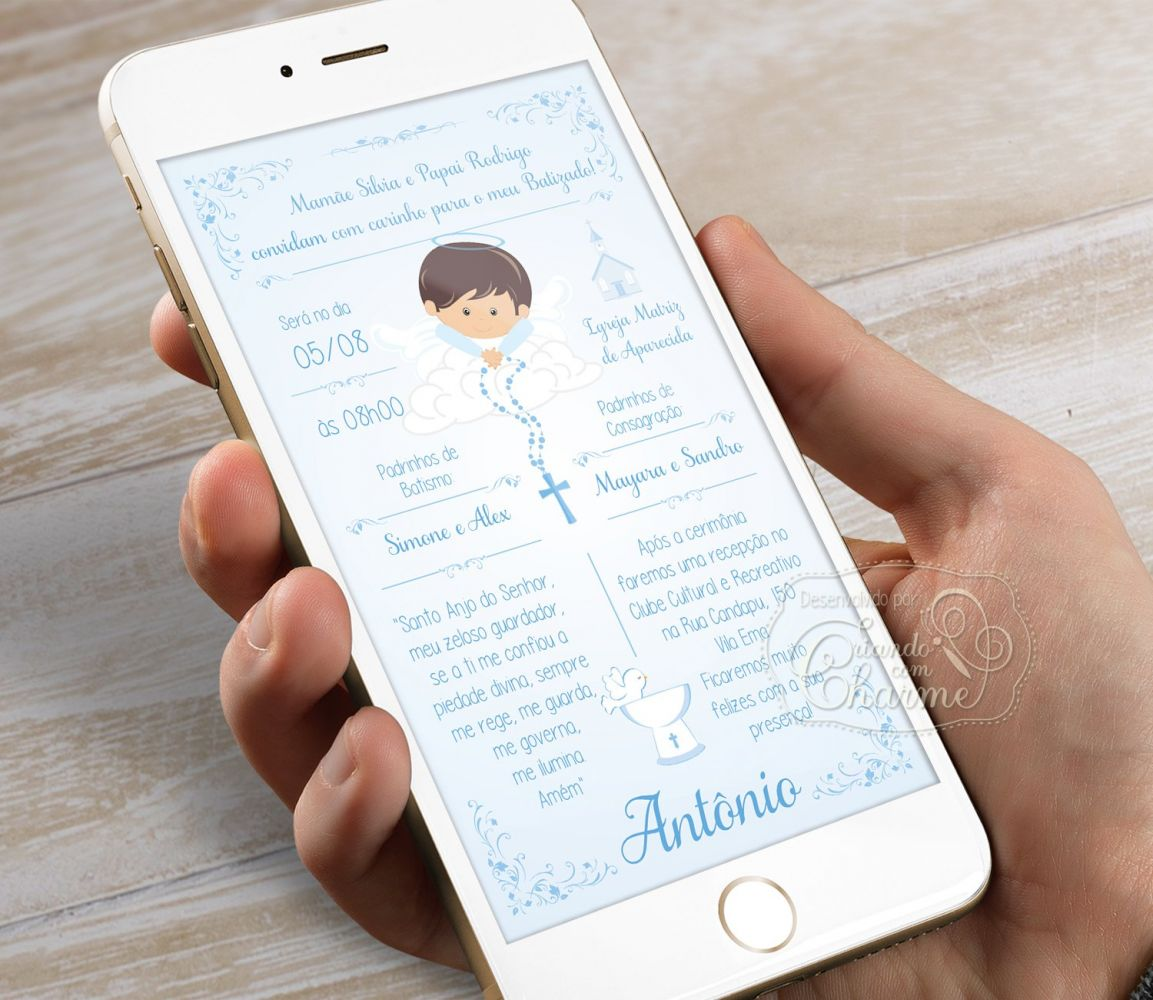 Convite Digital Personalizado - Anjinho na Nuvem