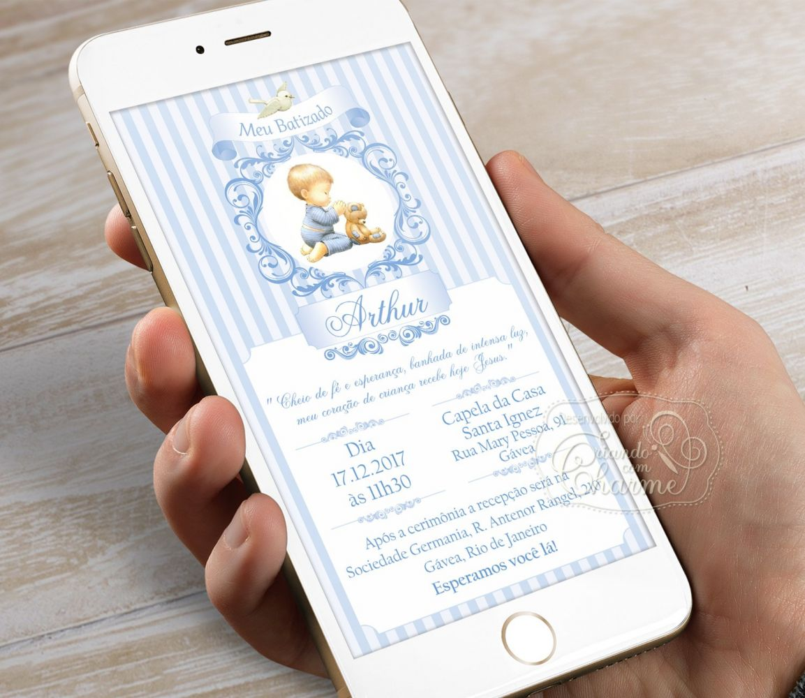 Convite Digital Personalizado - Arabescos Azul