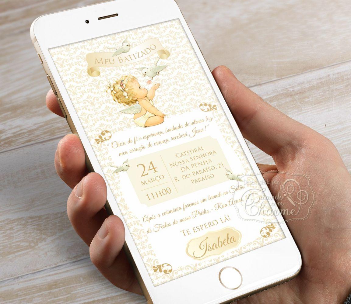 Convite Digital Personalizado - Damask Anjinha