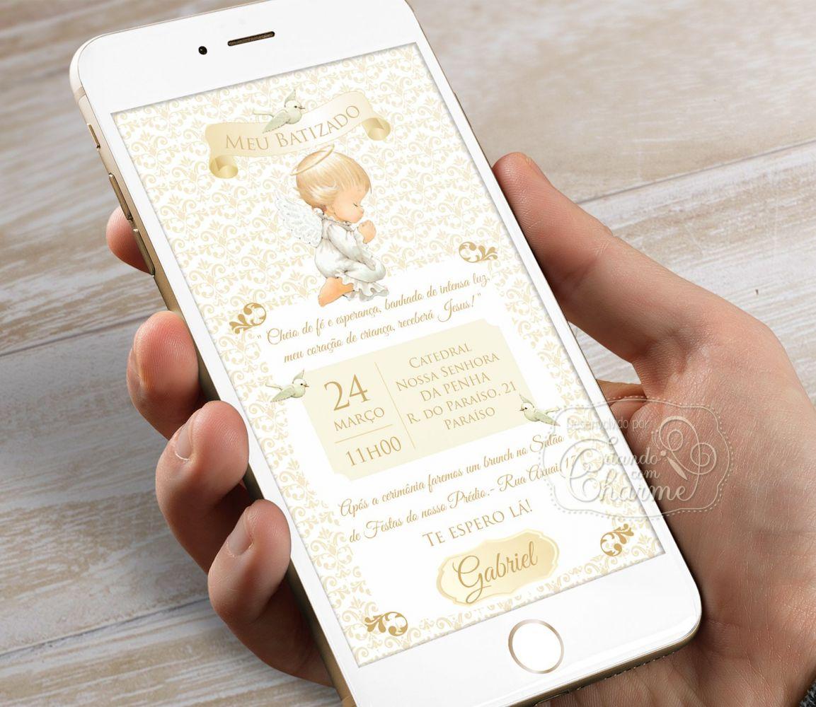 Convite Digital Personalizado - Damask Anjinho