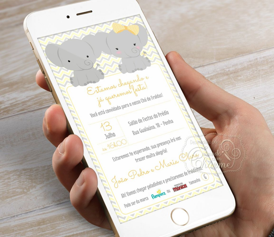 Convite Digital Personalizado - Elefantinho - Gêmeos