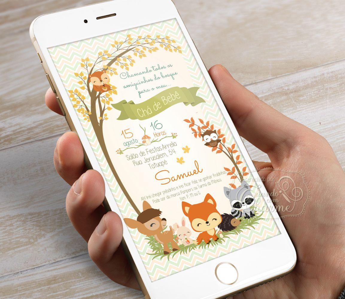Convite Digital - Woodland - Chá de Bebê / Fraldas