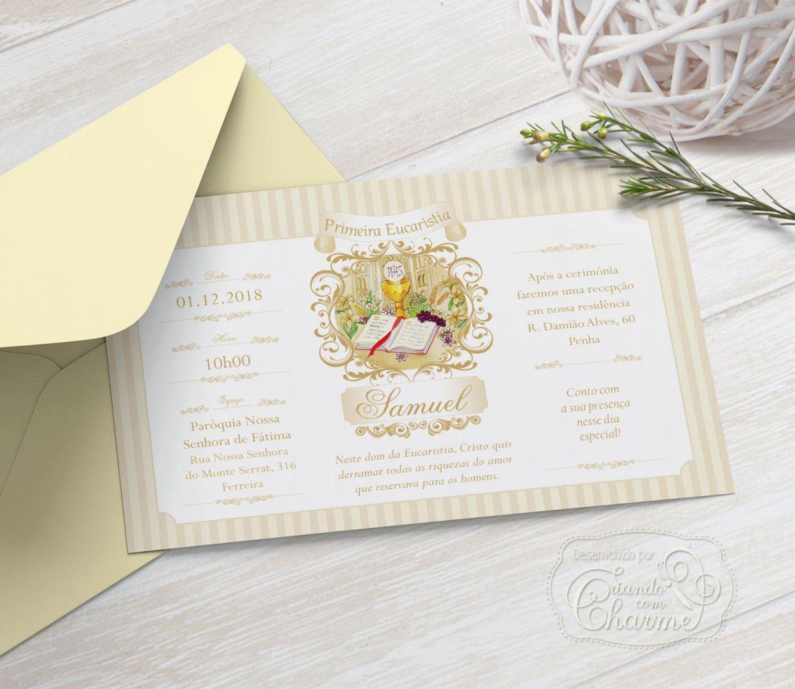 Convite Primeira Comunhão / Eucaristia com Envelope  -  Tema Arabescos