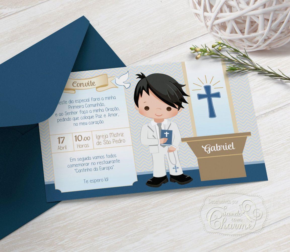 Convite Primeira Comunhão / Eucaristia com Envelope  -  Tema Eucharist AD