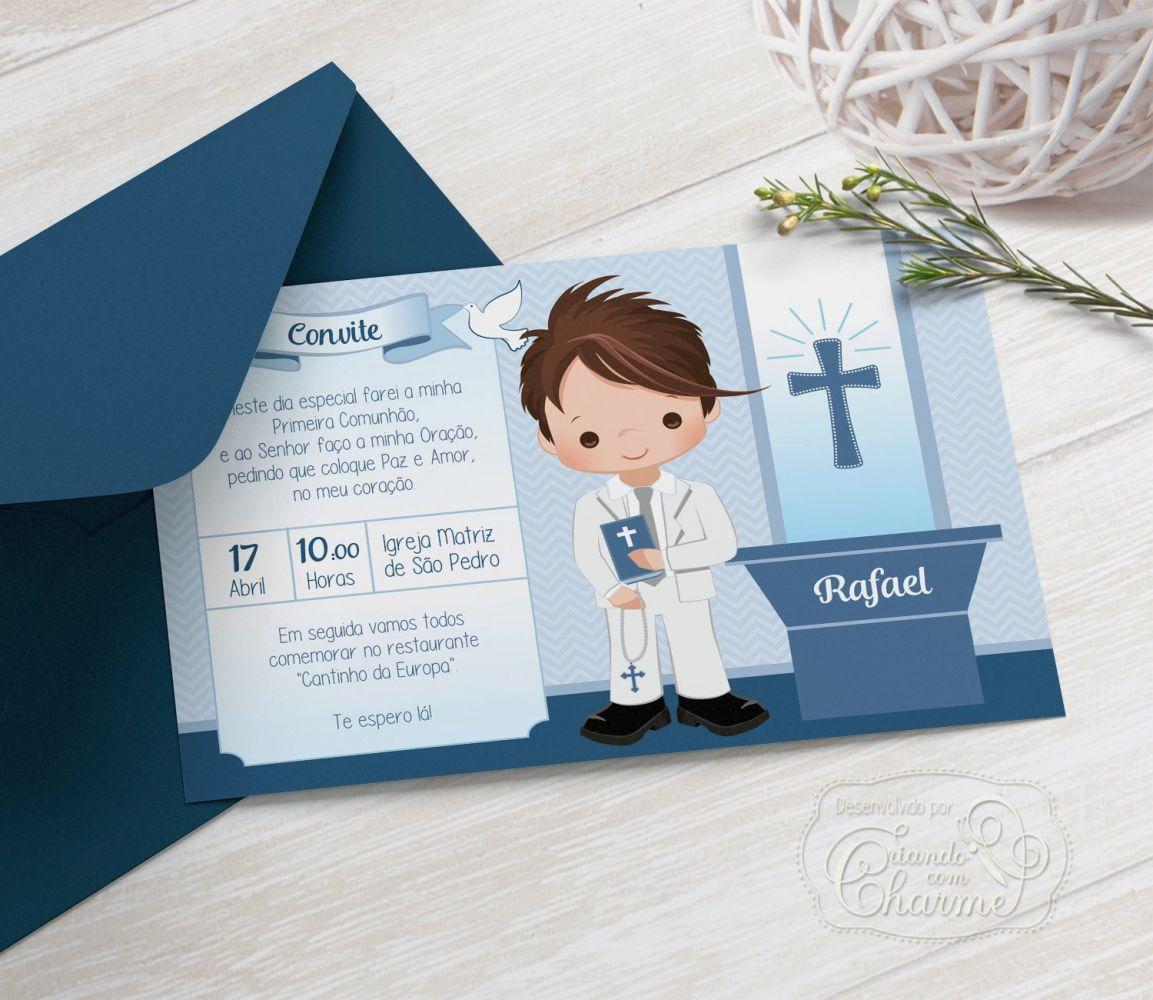 Convite Primeira Comunhão / Eucaristia com Envelope  -  Tema Eucharist Azul