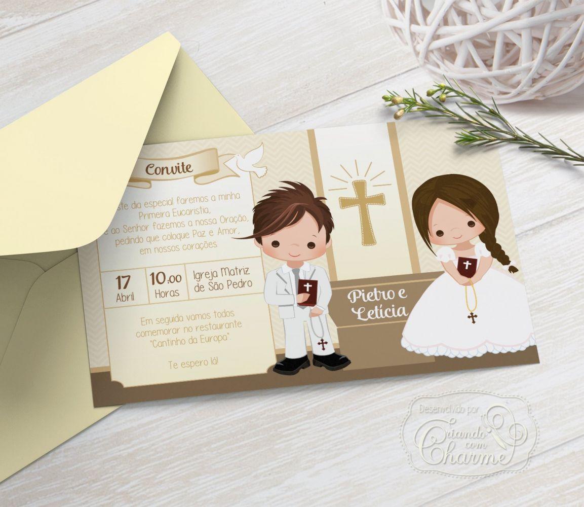 Convite Primeira Comunhão / Eucaristia com Envelope  -  Tema Eucharist Irmãos