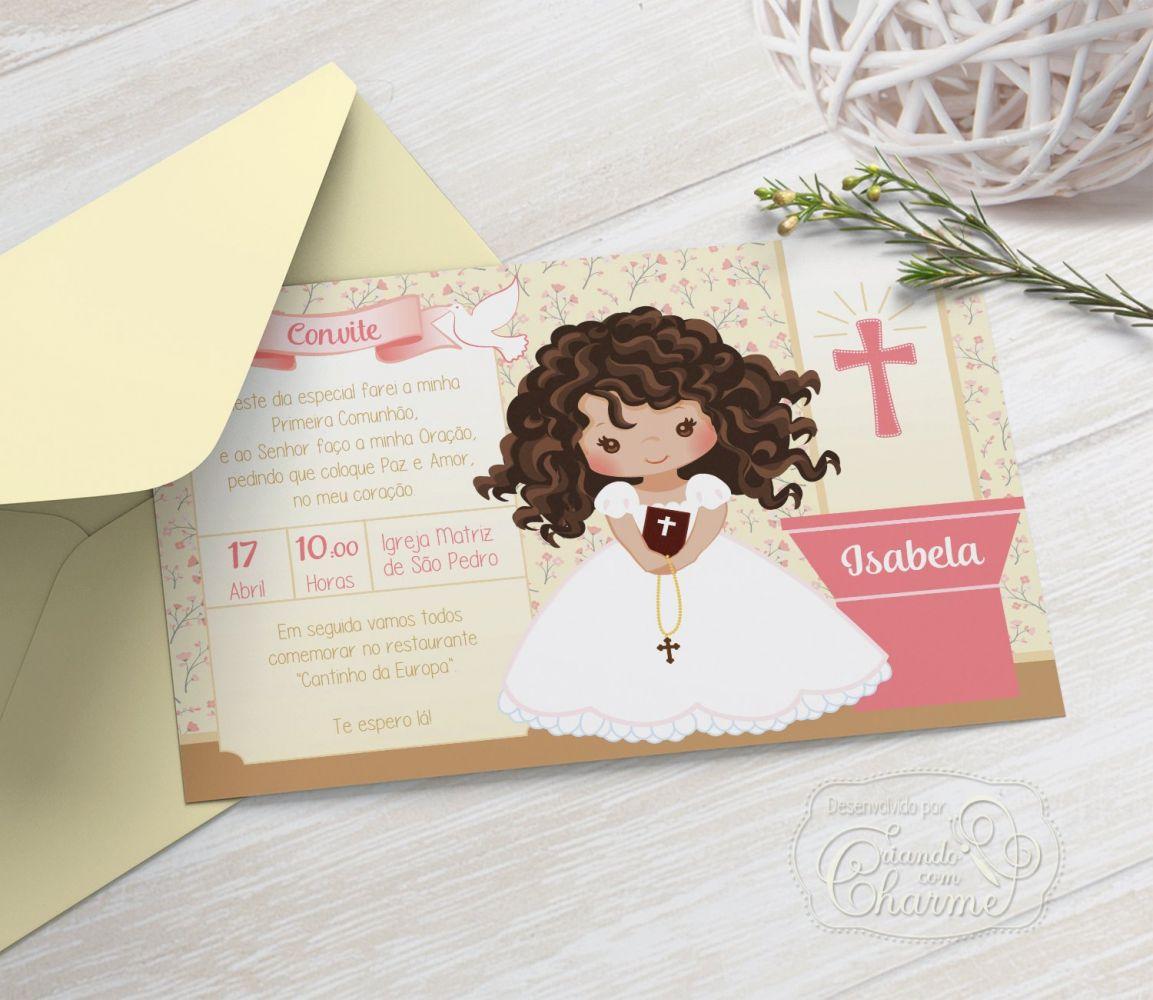 Convite Primeira Comunhão / Eucaristia com Envelope  -  Tema Eucharist Salmão