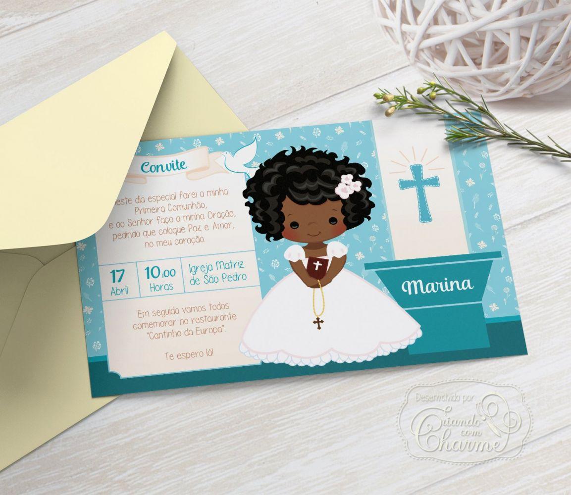 Convite Primeira Comunhão / Eucaristia com Envelope  -  Tema Eucharist Tiffany