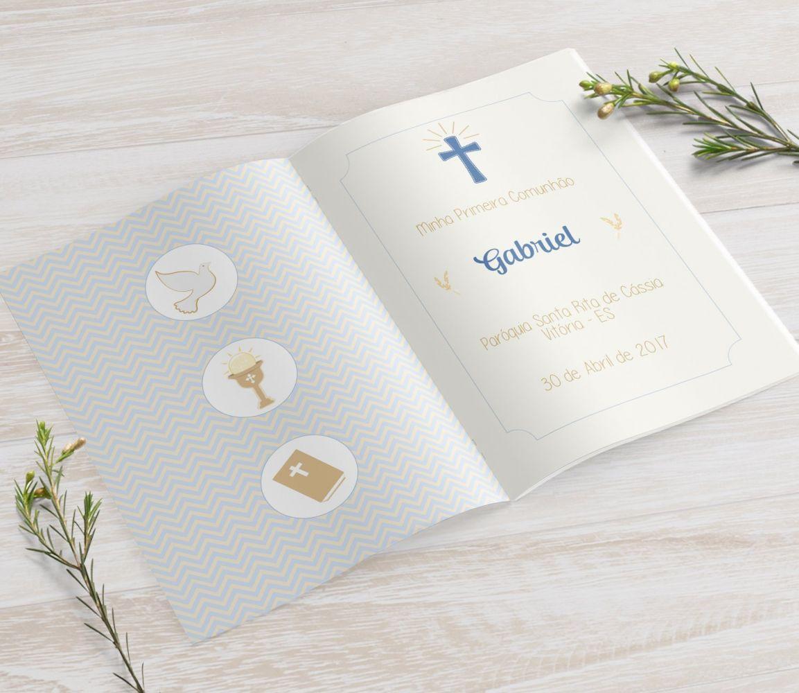 Livrinho de Orações - Cálice Azul e Dourado