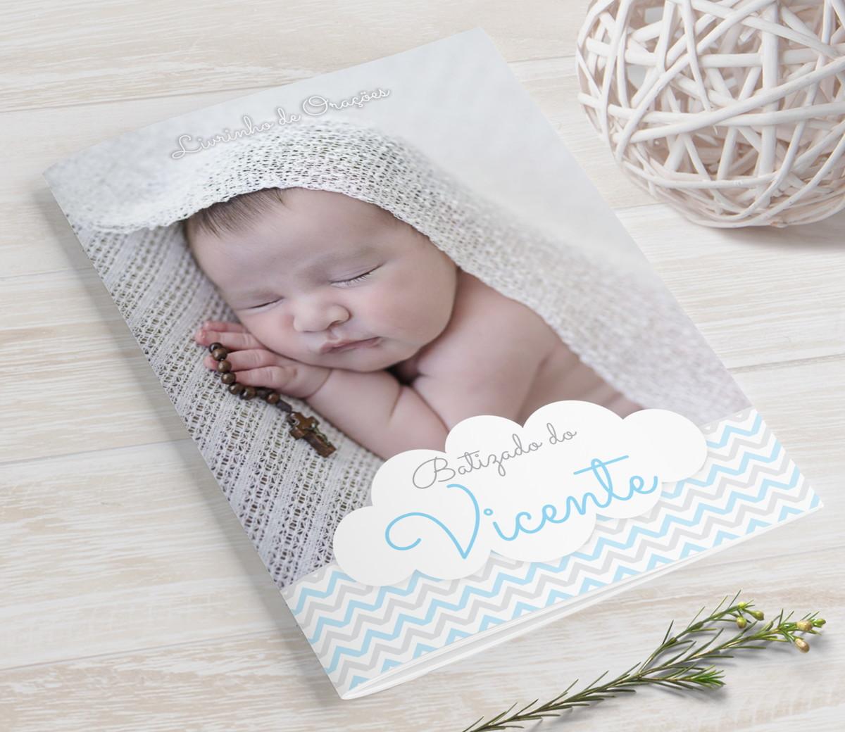 Livrinho de Orações com Fotos - Chevron Azul - PLUS 25 Orações