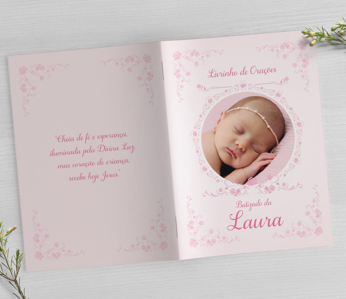 Livrinho de Orações com 3 fotos do bebê - Rosinhas - 10X14 cm