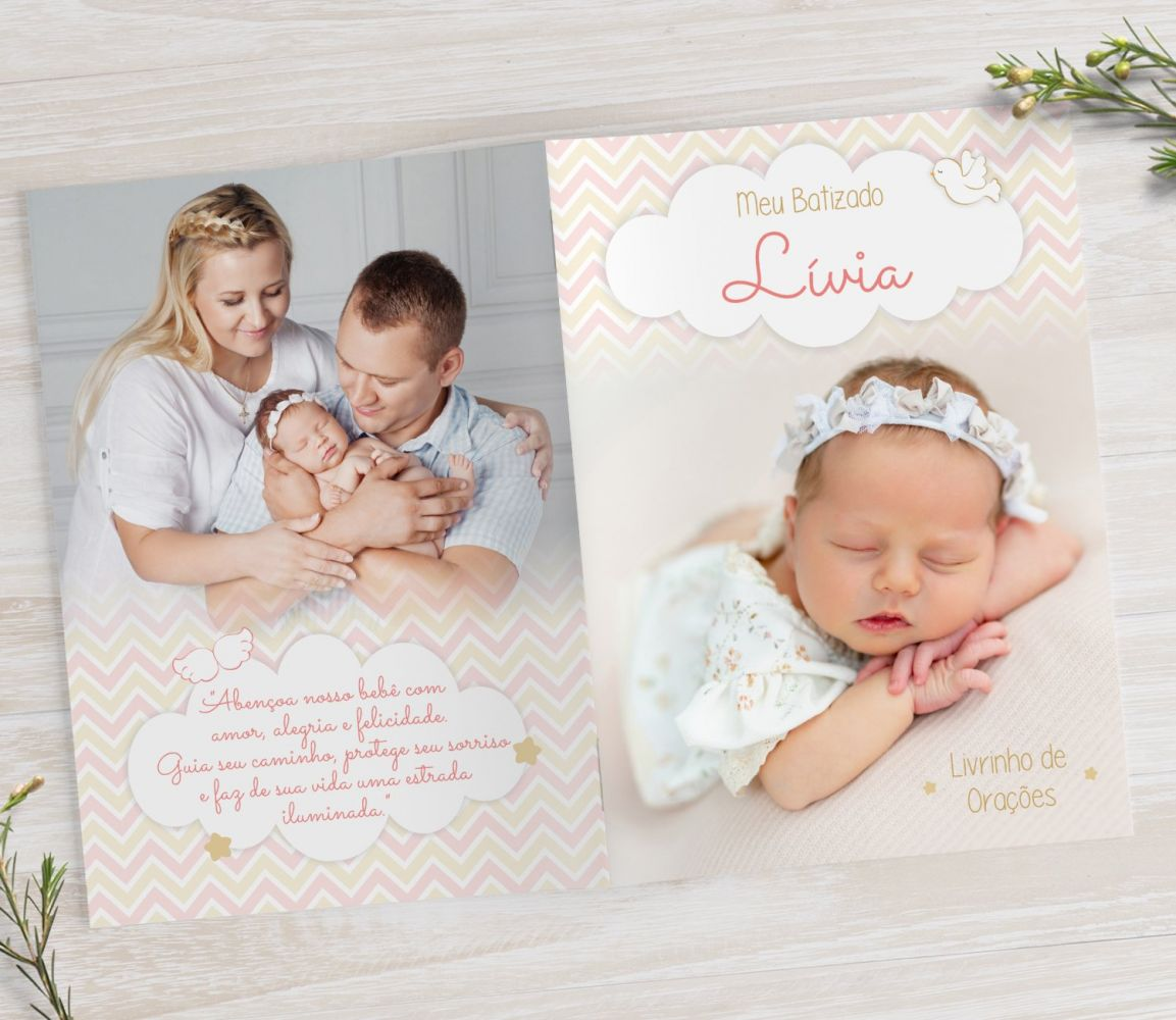Livrinho de Orações com Fotos - Chevron Menina - PLUS 25 Orações