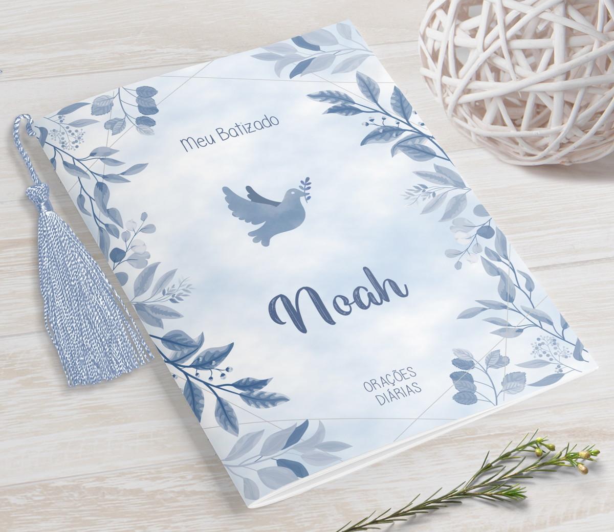 Livrinho de Orações com Pingente Tassel - Aquarela Azul- 10X14 cm