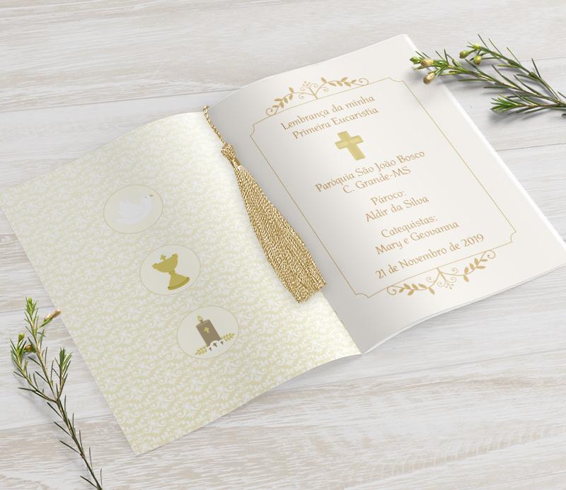 Livrinho de Orações com Pingente Tassel - Arabescos- 10X14 cm