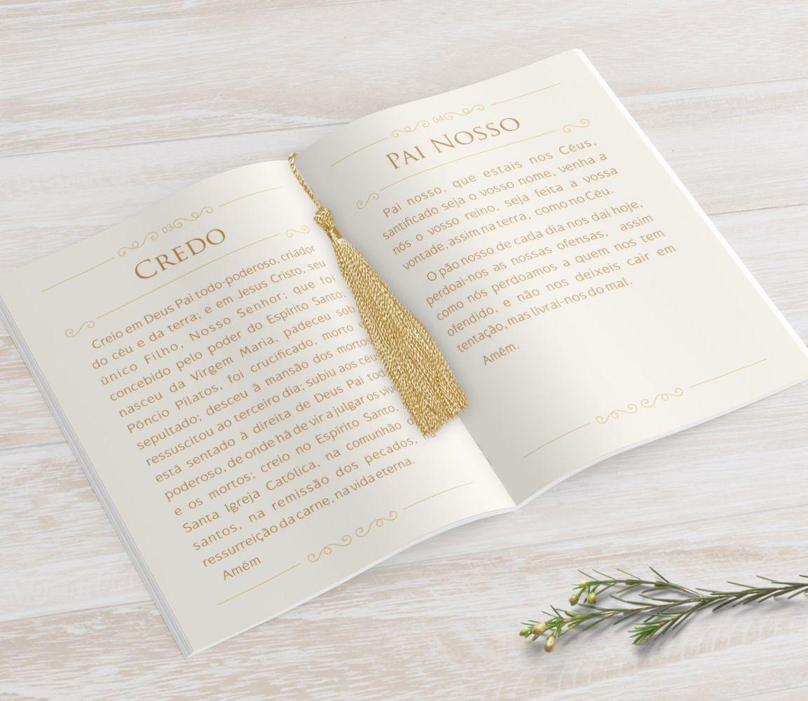 Livrinho de Orações com Pingente Tassel - Floral- 10X14 cm