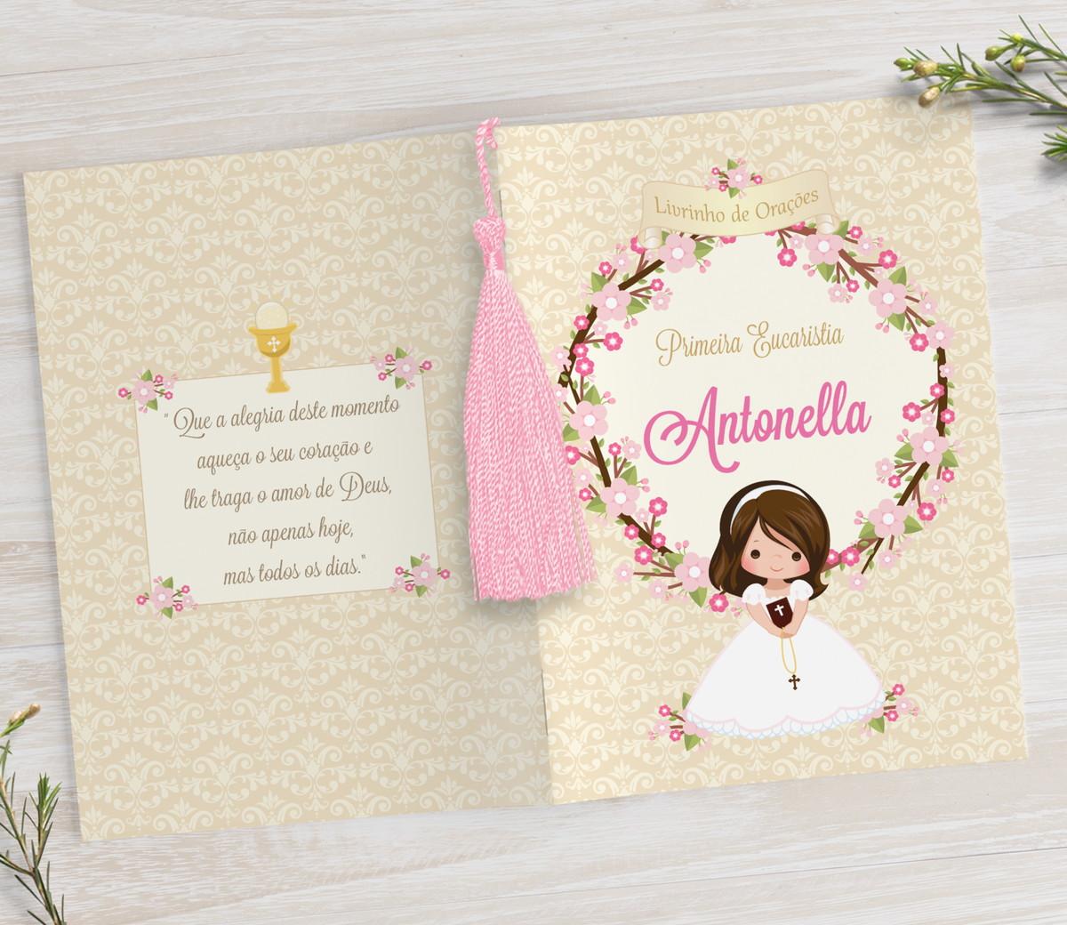 Livrinho de Orações com Pingente Tassel - Flower - 10X14 cm