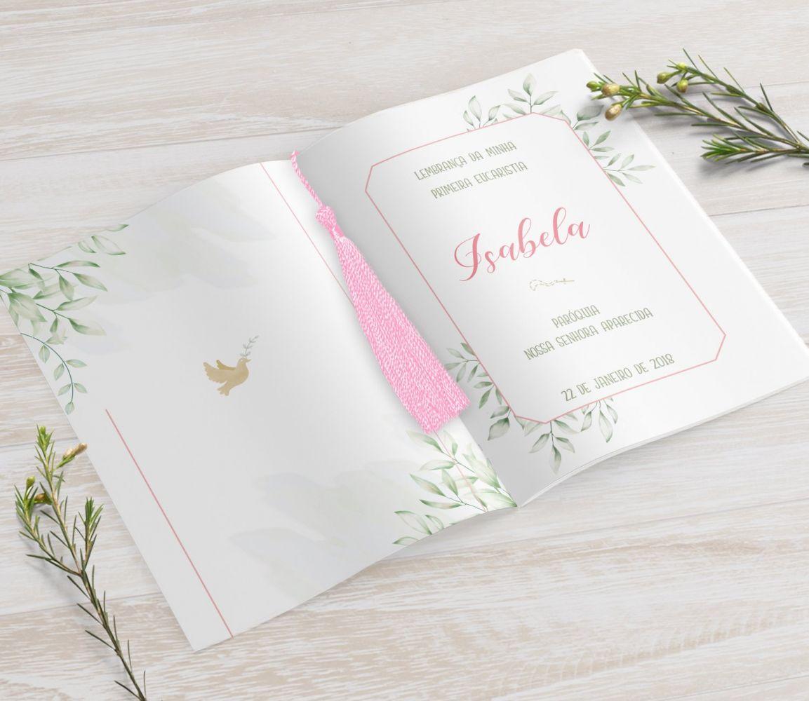 Livrinho de Orações com Pingente Tassel - Folhagem Menina - 10X14 cm