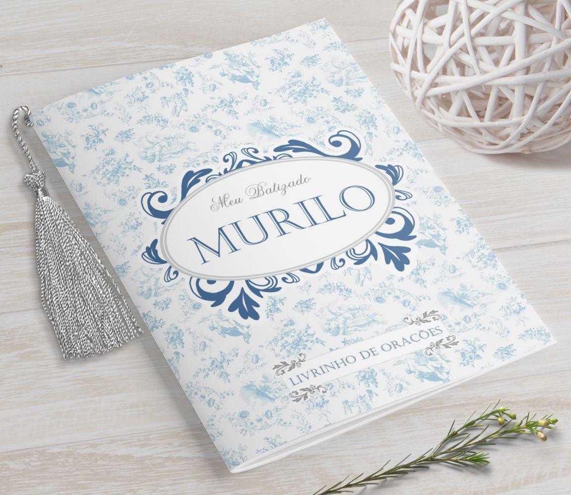 Livrinho de Orações com Pingente Tassel - Toile du Jouy Azul- 10X14 cm