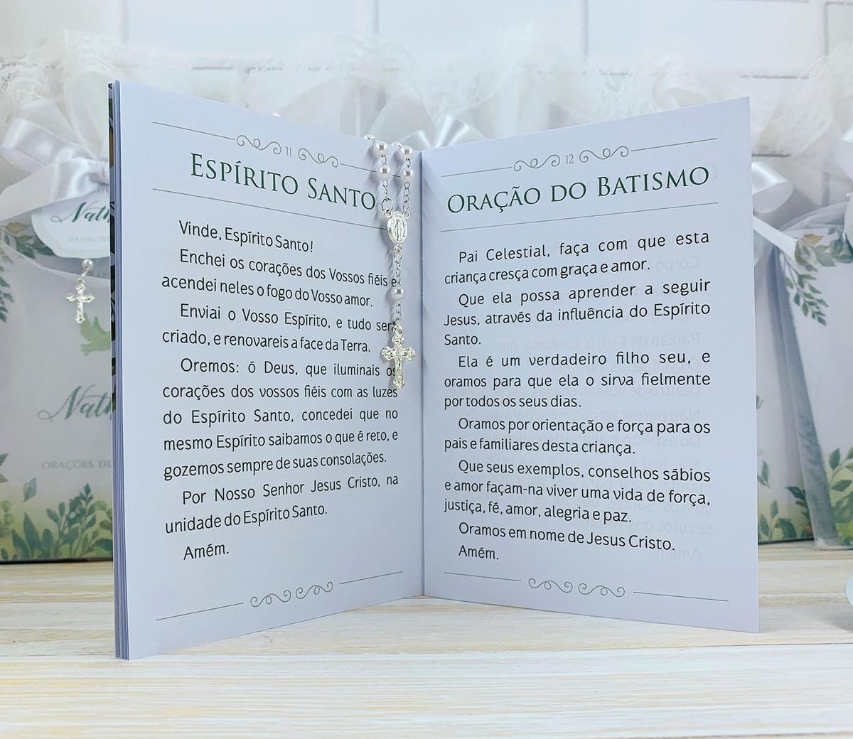 Livrinho de Orações Luxo e Terço embalado no Saquinho de Organza - Folhagem - 10X14 cm