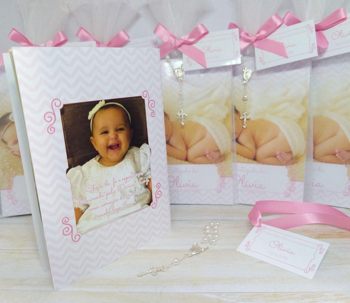 Livrinho de Orações  Personalizado com 11 Fotos da Criança e Mini terço embalado no Saquinho de Organza - 10X14 cm