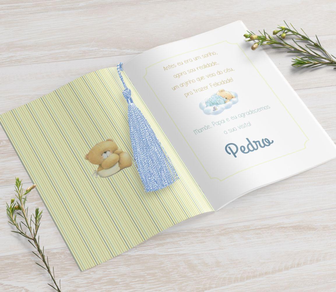 Livrinho de Orações Personalizado com Seda Tassel - Ursinho Fofo