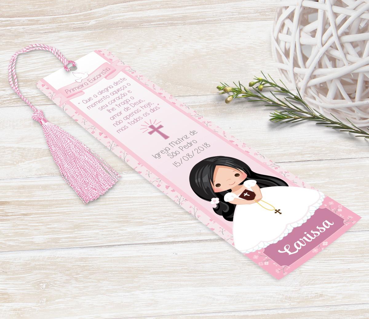 Marcador Livro / Santinho Personalizado - Cálice Rosa
