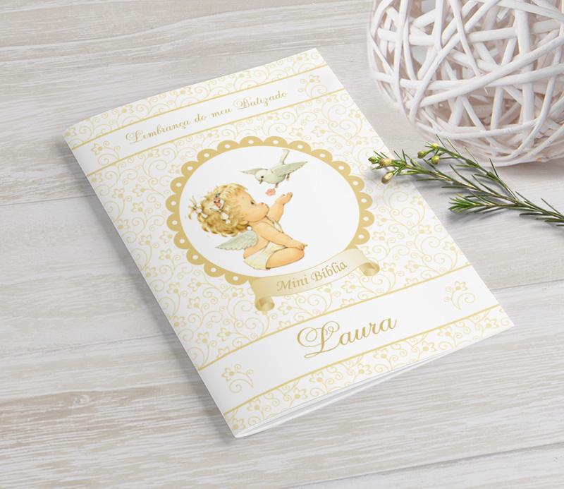Mini Bíblia Personalizada 10X7 cm - Anjinha