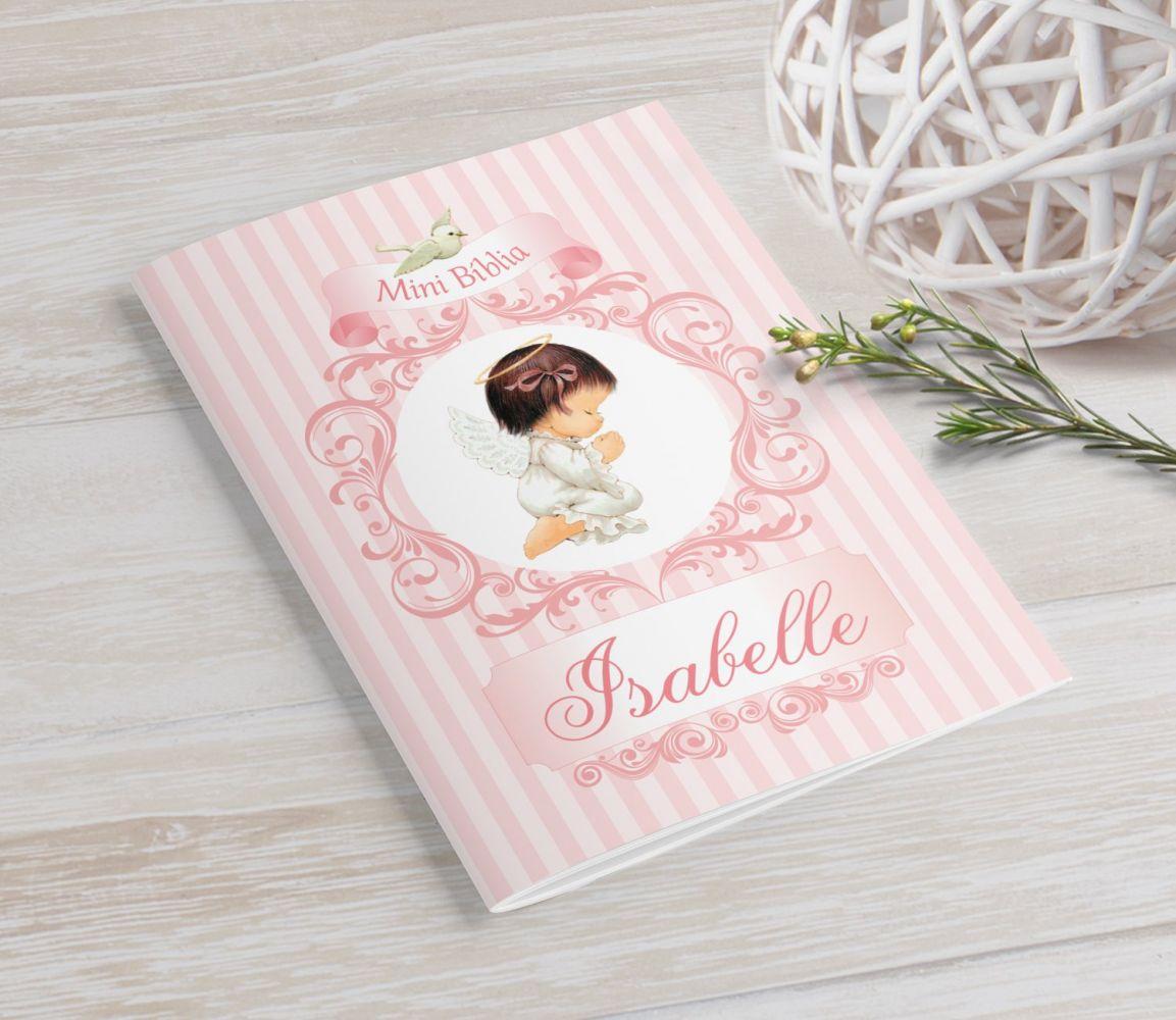 Mini Bíblia Personalizada 10X7 cm - Arabescos Rosa