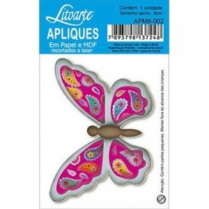 Aplique Litoarte Ref.Apm8-002 - Borboleta