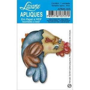 Aplique Litoarte Ref.Apm8-005-Galinha