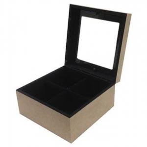 Caixa De 4 Relogio Forrada Com Vidro (15.5X15.5X8.5)