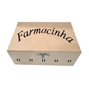 Caixa de Remédio Fecho e Dobradiça escrito Farmacinha (30x20x13)