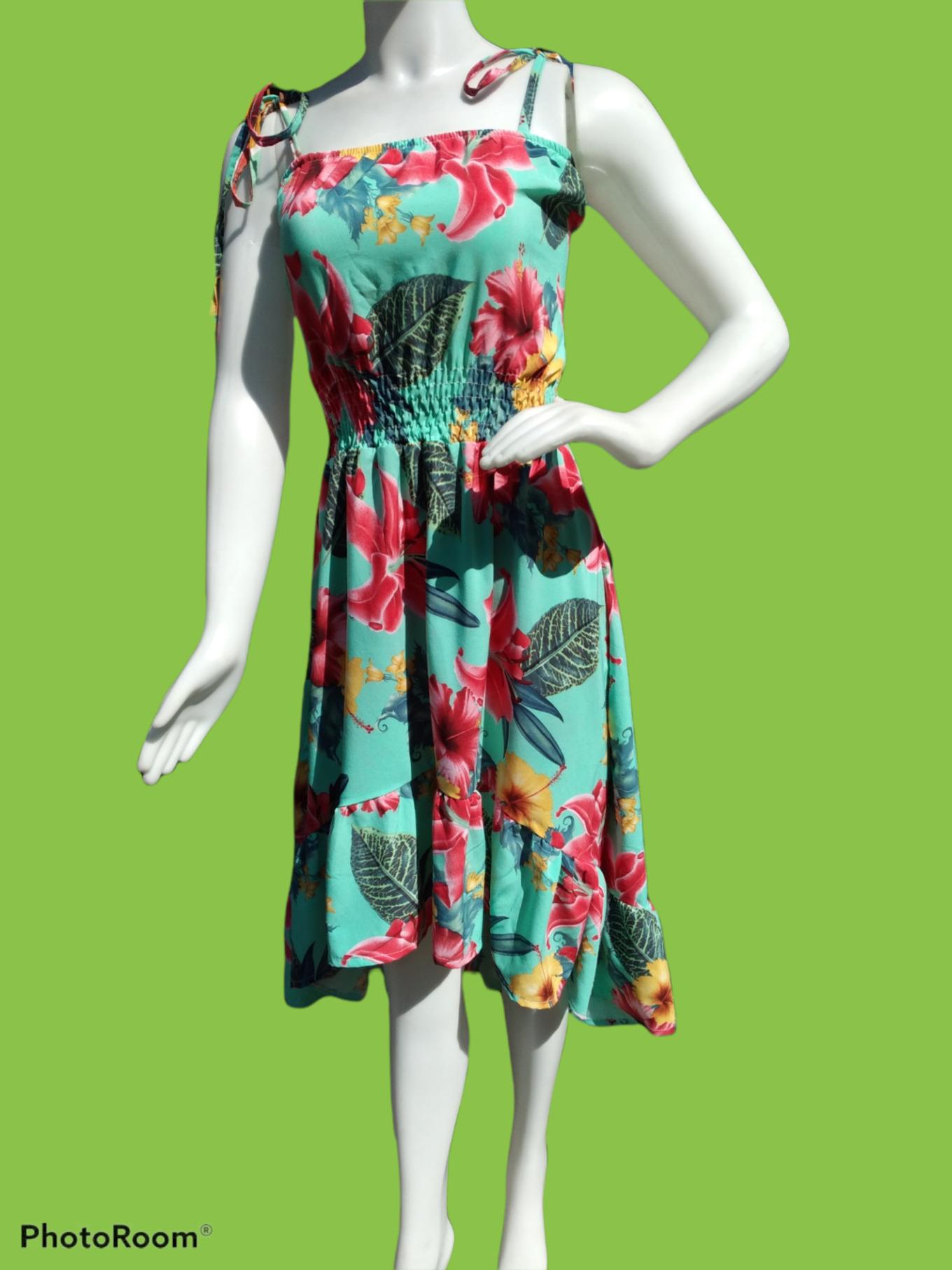 Vestido Middi Floral tom verde