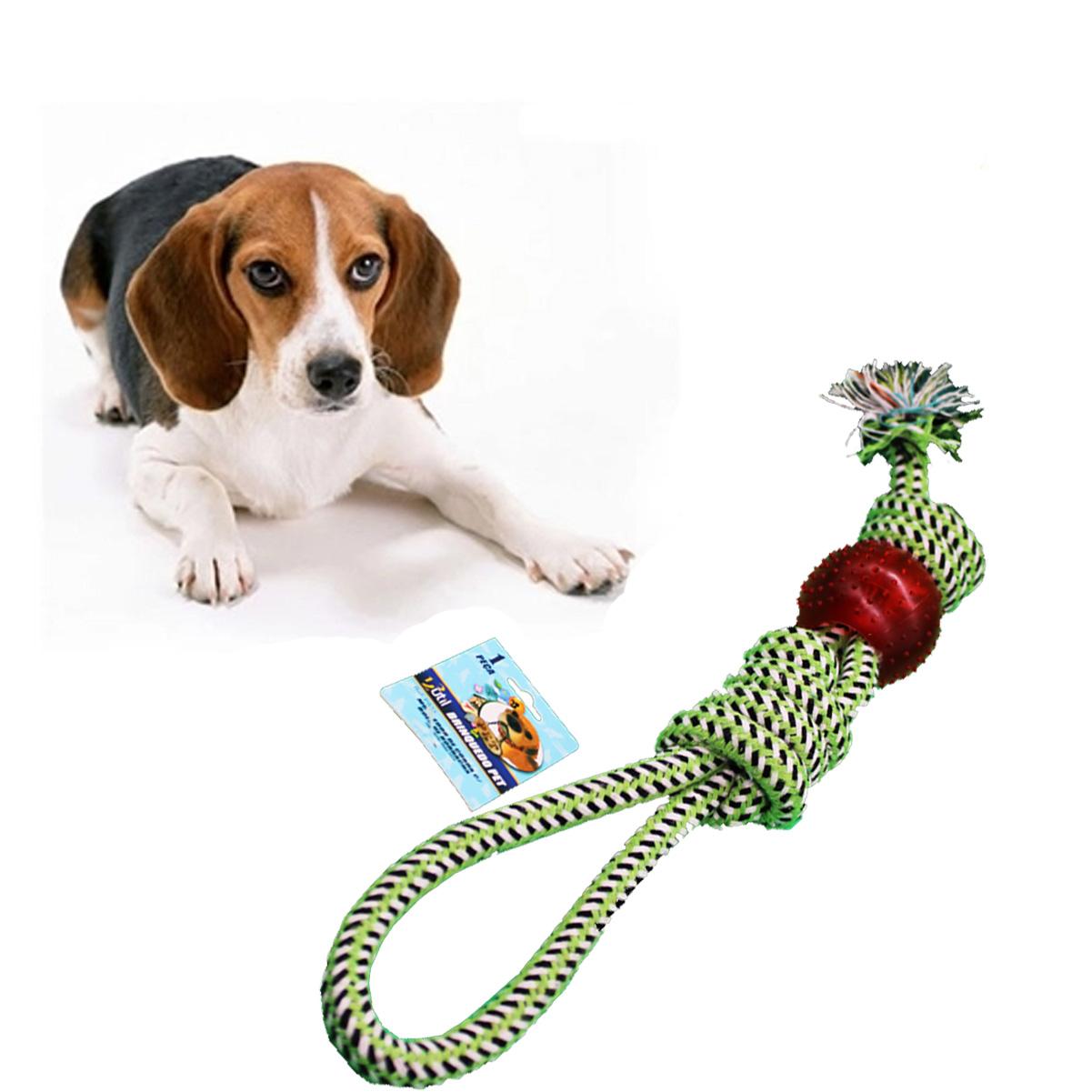 Brinquedo Mordedor Para Cães Pet Corda Bolinha Limpa Dentes
