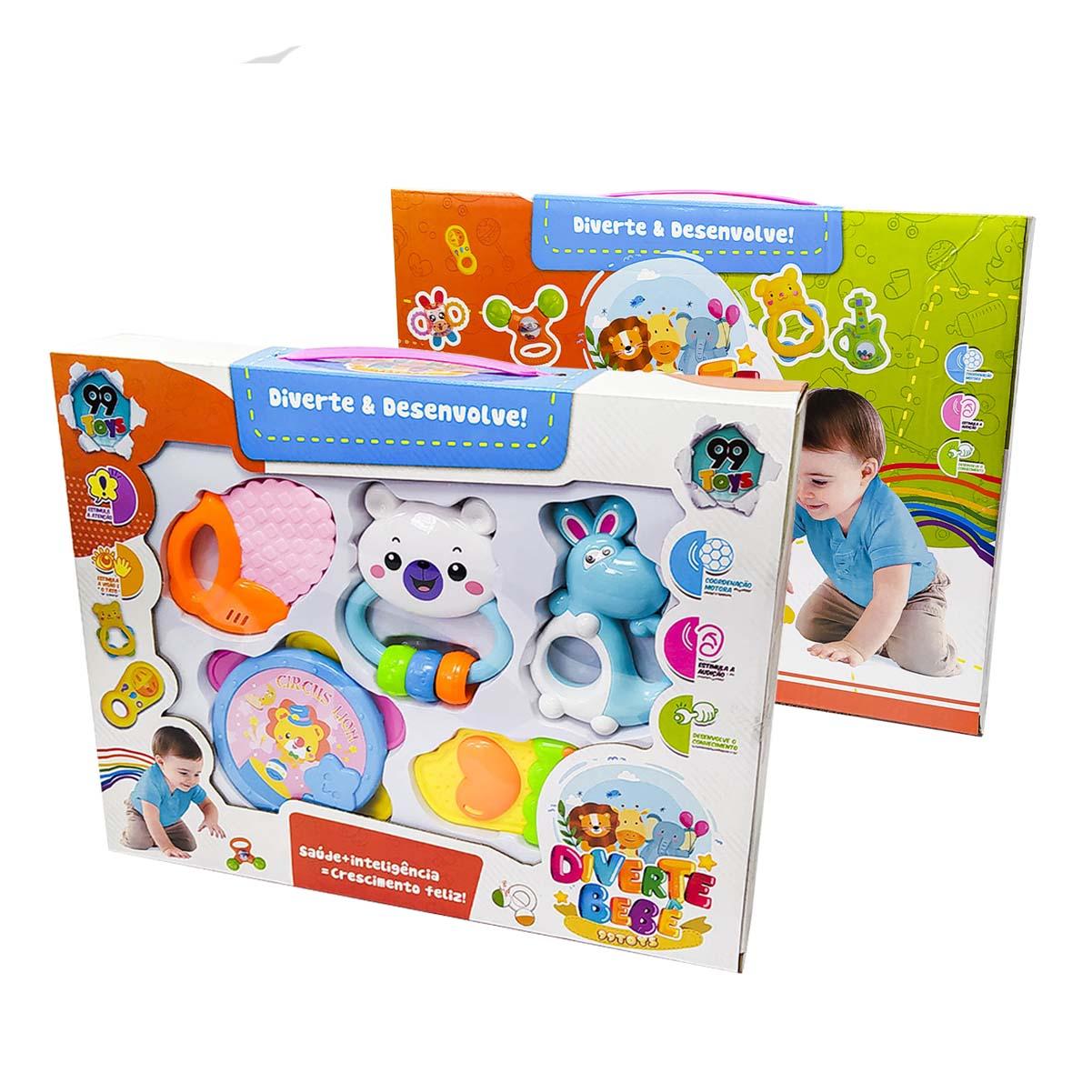 Brinquedo Para Bebê Kit Com 5 Chocalho Mordedor Infantil