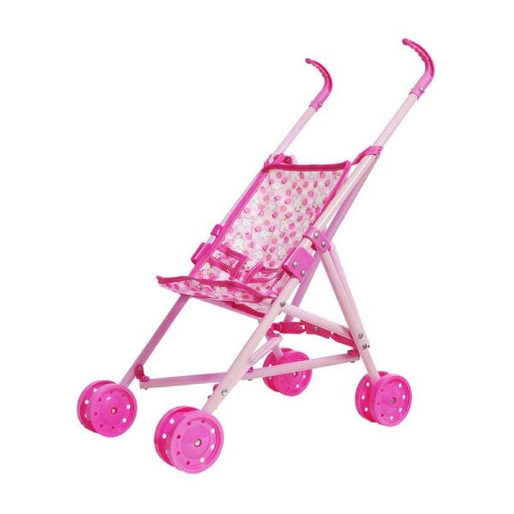 Carrinho De Boneca Bebê Reborn Passeio Metal Dobrável Rosa