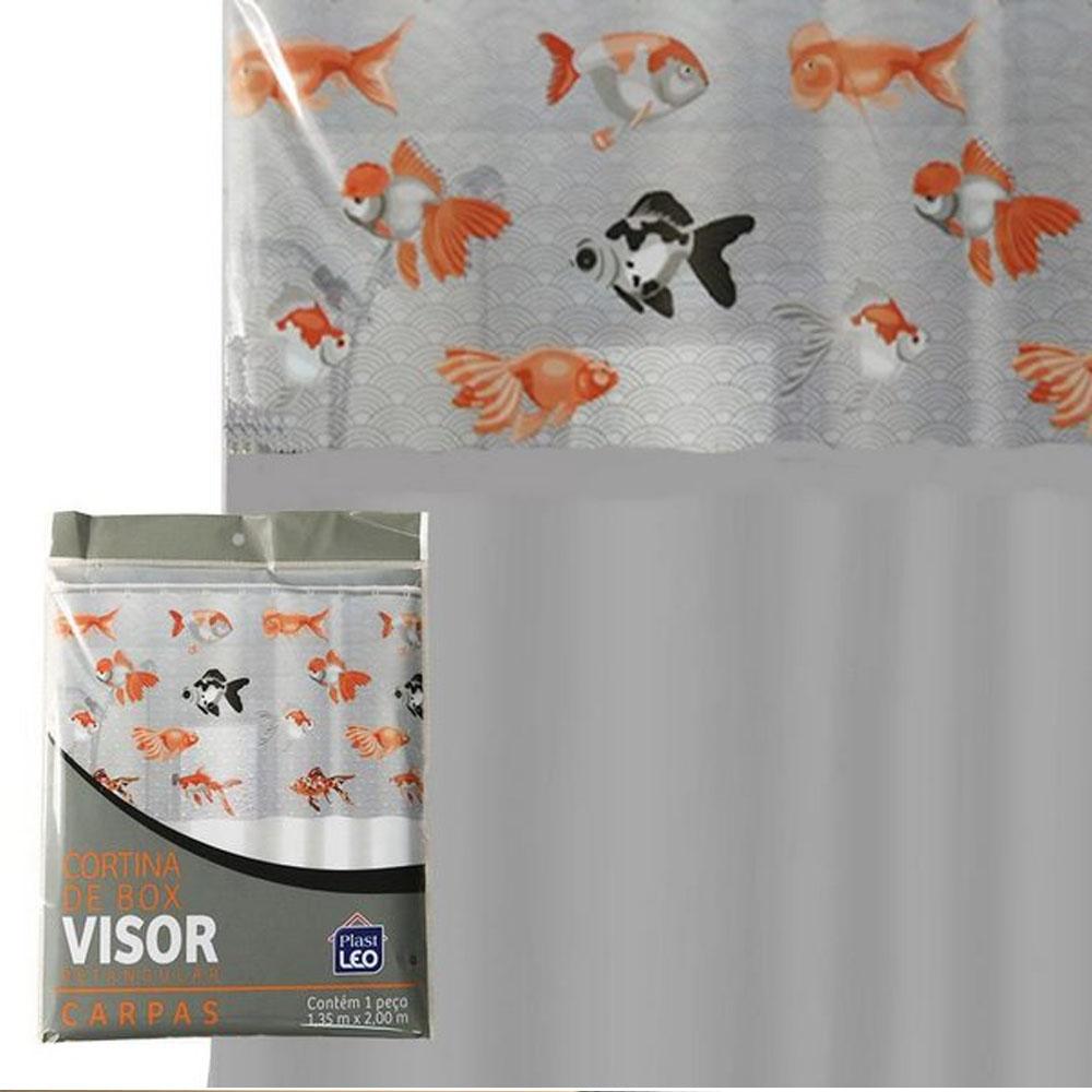 Cortina Box Banheiro 1,35x2,00 C/ Visor E Ganchos - Carpa