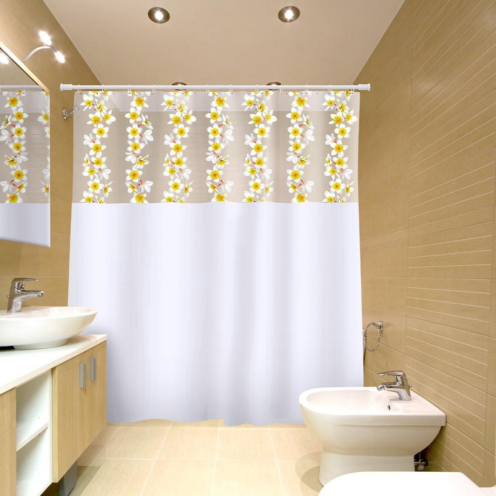 Cortina Box Banheiro Vinil 1,80x2,00 C/ Visor E Ganchos