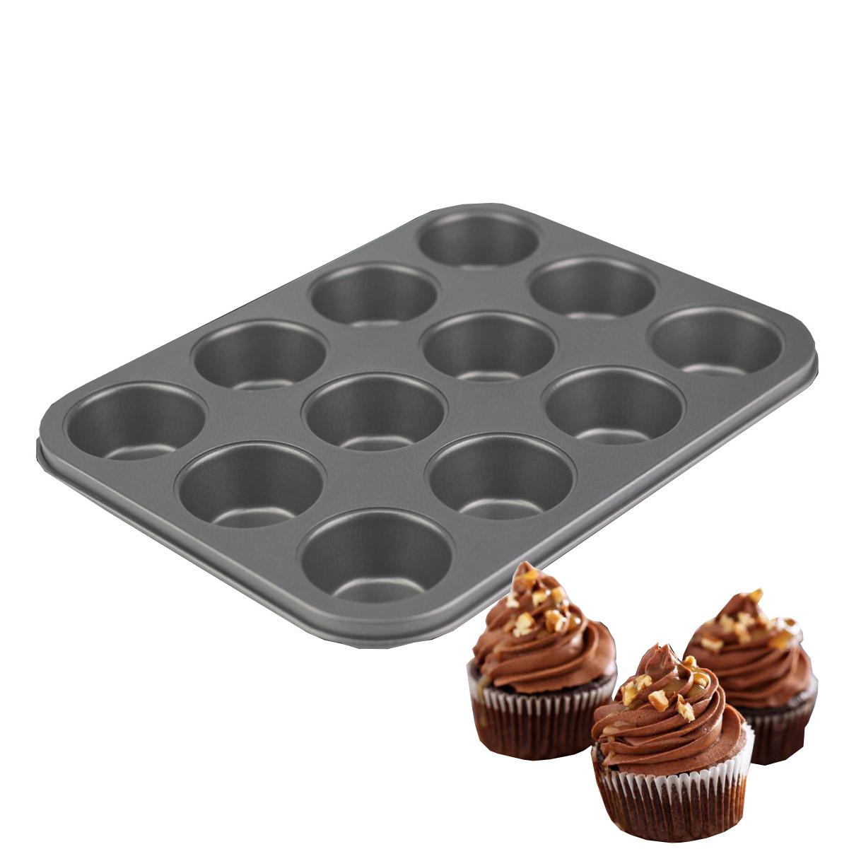 Forma Cupcake Antiaderente Aço Inox 12 Cavidades 20x26cm