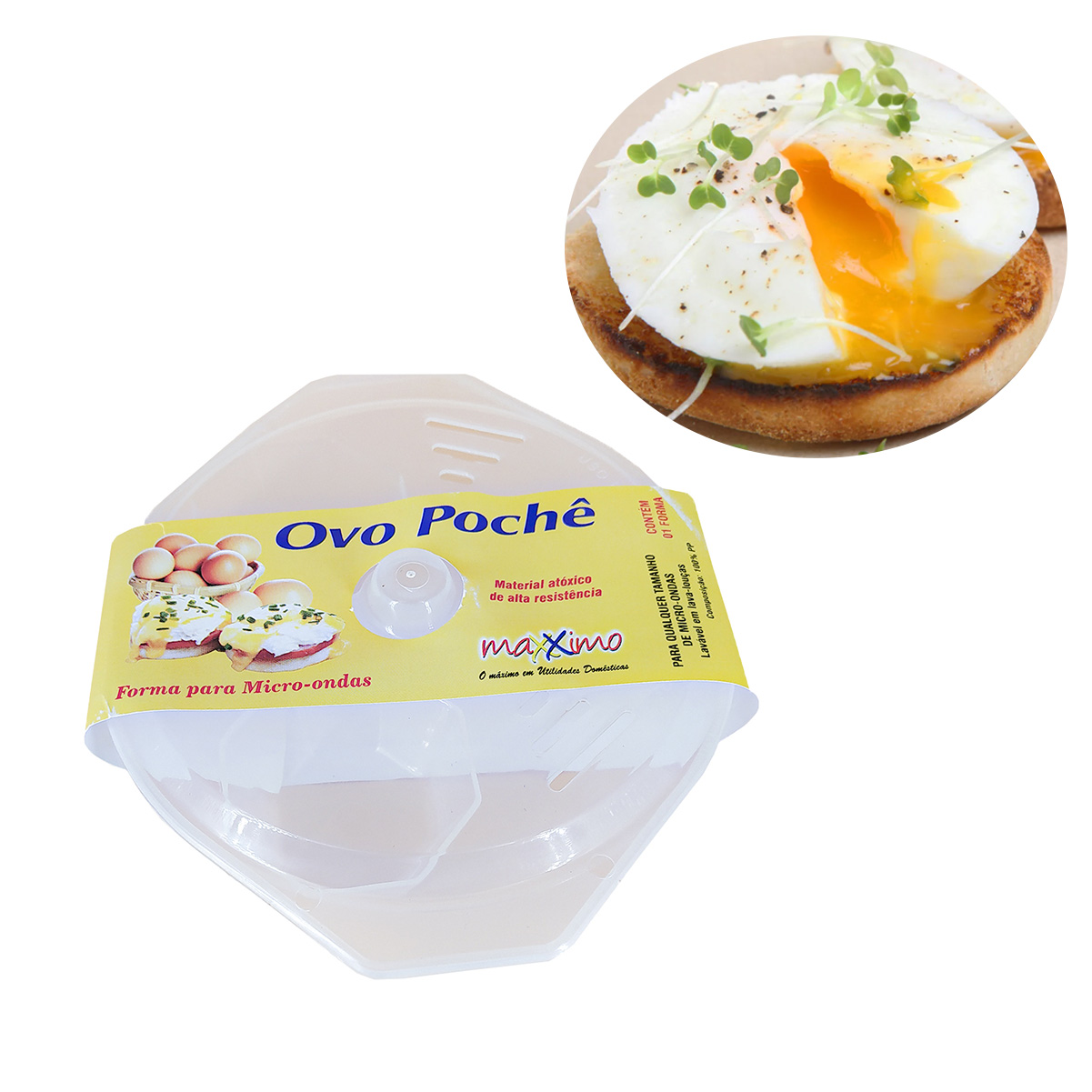 Forma De Ovo Pochê e Frito Recipiente Microondas Até 3 Ovos