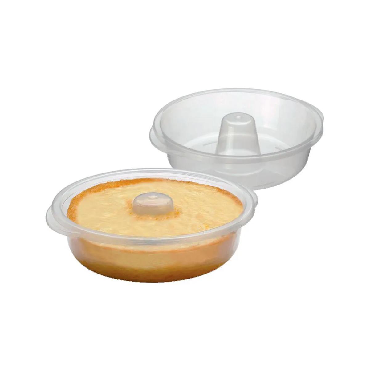 Forma De Pudim Para Microondas De Plástico Redonda 22x6,5cm